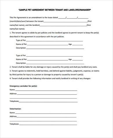tenant pet agreement form1