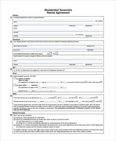 Tenant Agreement Form Samples   Free Documents In Pdf