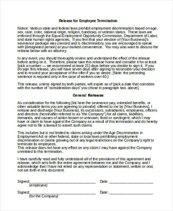 Employee Release Form Samples  Free Sample Example Format