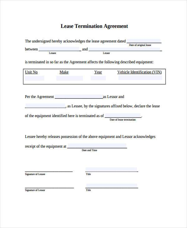 termination lease agreement example1