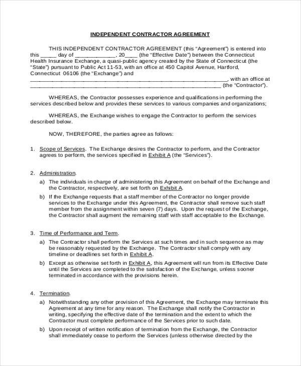 9+ Independent Contractor Agreement Form Samples - Free Sample ...