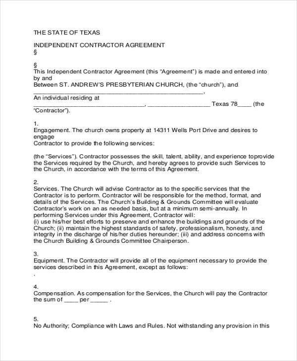 FREE 9+ Independent Contractor Agreement Forms In PDF