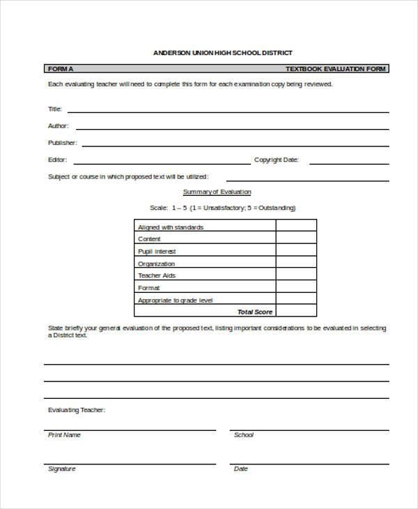 textbook adoption evaluation form