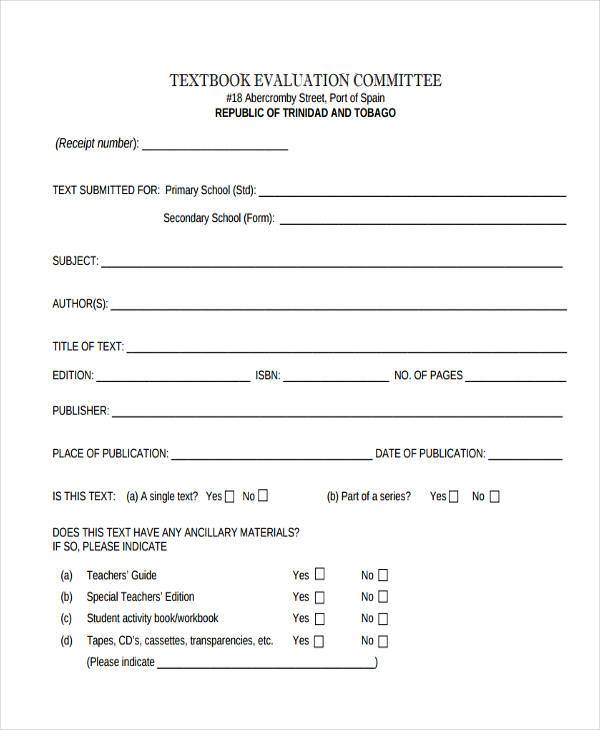 Textbook Evaluation Form Samples  Free Sample Example Format