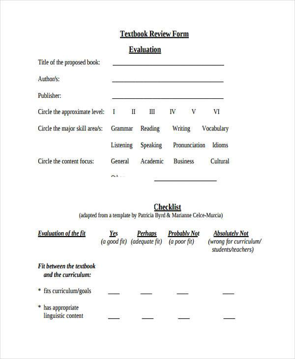 7+ Textbook Evaluation Form Samples - Free Sample, Example Format