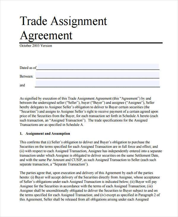 Trade assignment agreement