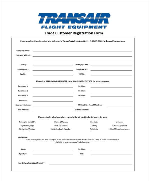 trade customer registration form