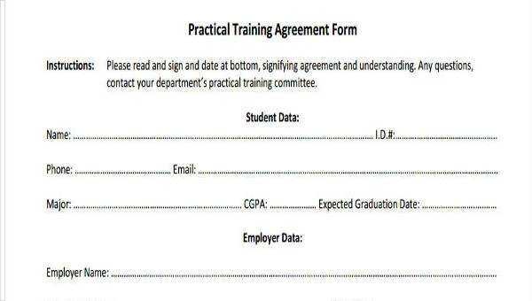 Free 8 Training Agreement Form Samples In Sample Example