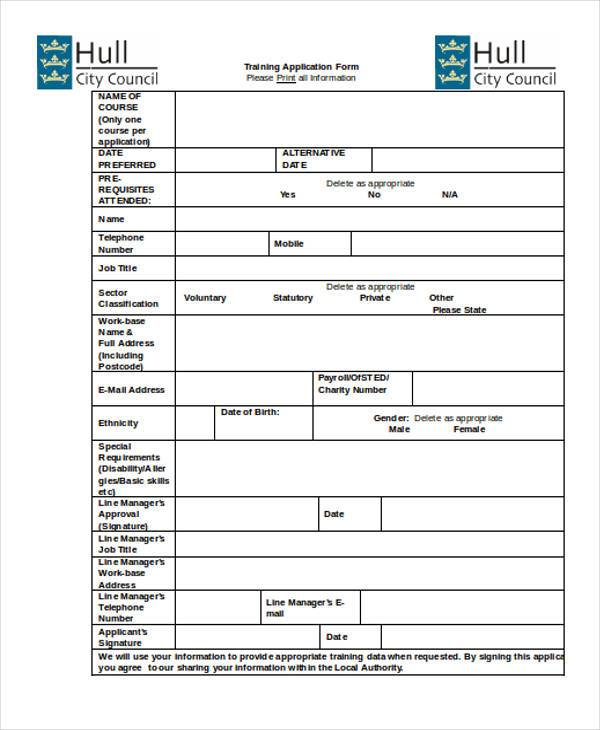 Sample Training Application Forms   Free Documents In Word Pdf
