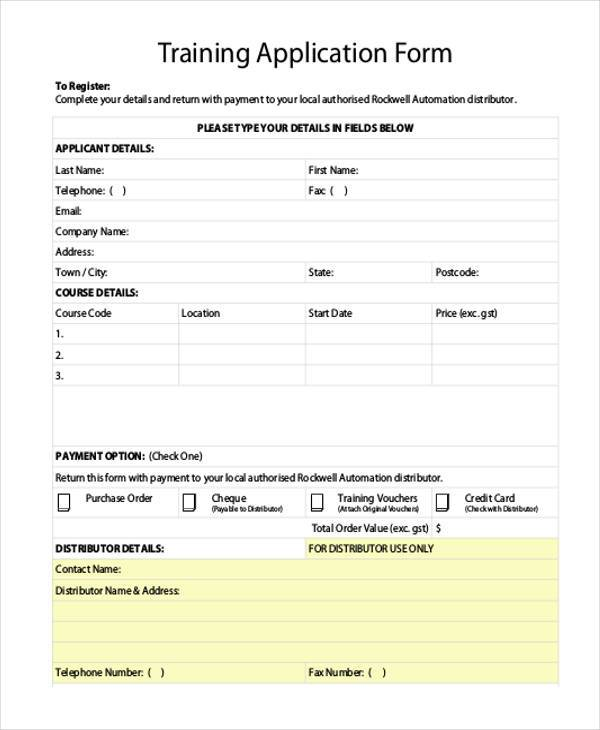 Sample training application forms 7 free documents in for Course enrolment form template
