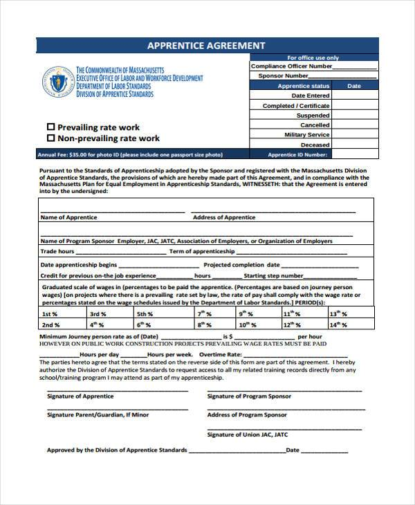 7 Apprenticeship Agreement Form Samples Free Sample
