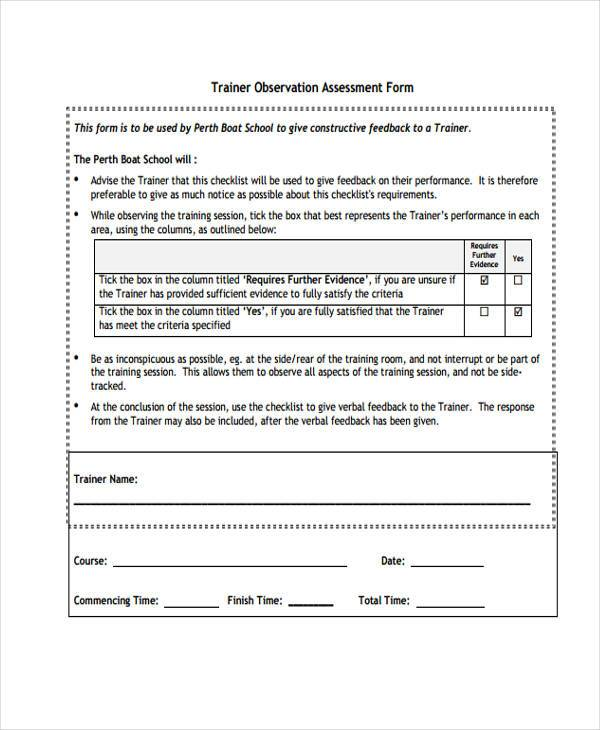 training observation assessment form