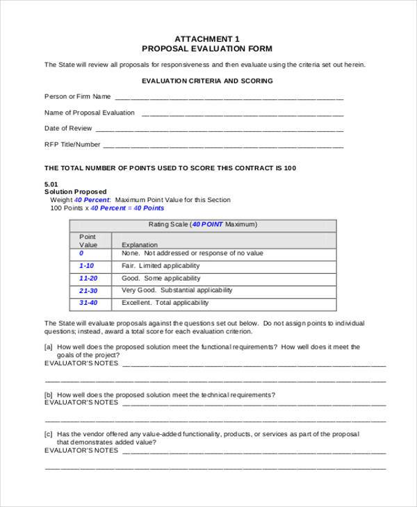 training proposal evaluation form