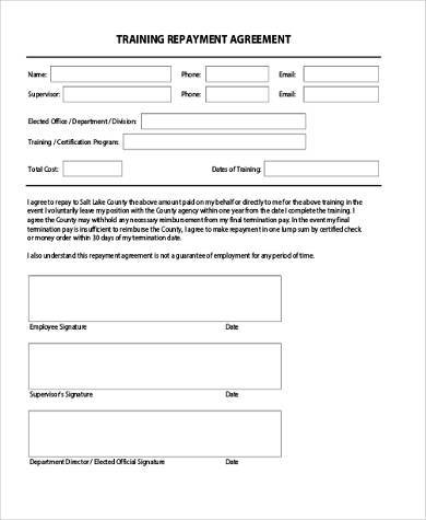 training repayment agreement form