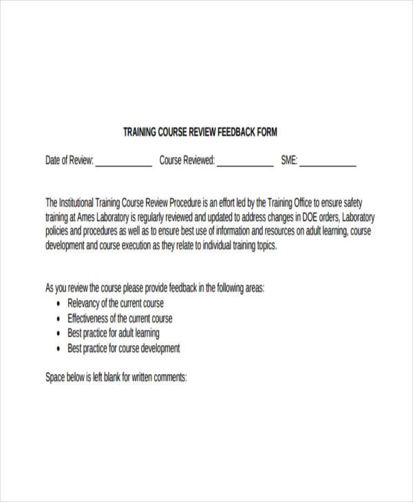 training review feedback form