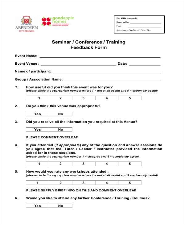 training seminar feedback form