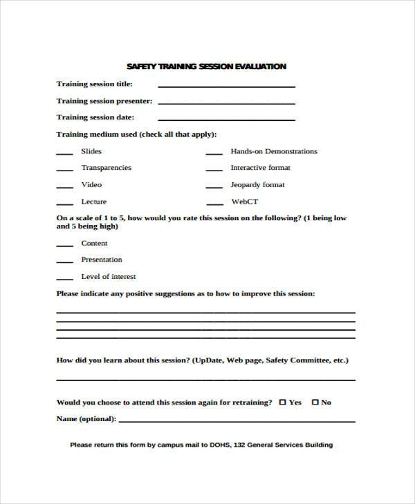 Training Evaluation Form Samples  Free Sample Example Format