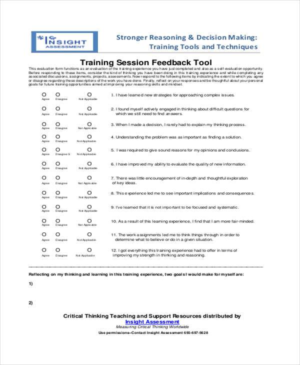 Sample Session Feedback Forms 8 Free Documents in Word PDF – Training Session Feedback Form