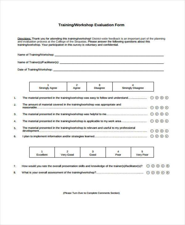 9 workshop evaluation form samples free sample example for End of course evaluation template
