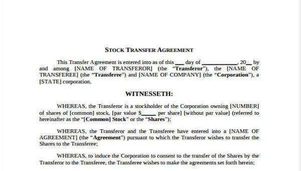 8 Transfer Agreement Form Samples Free Sample Example Format