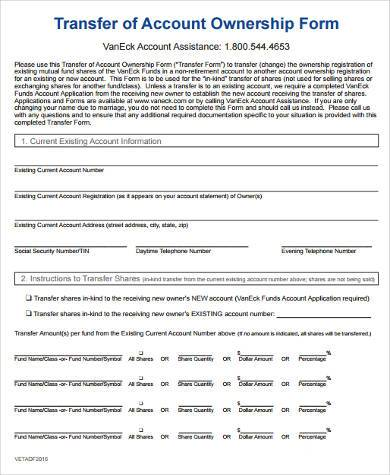 transfer of account ownership form