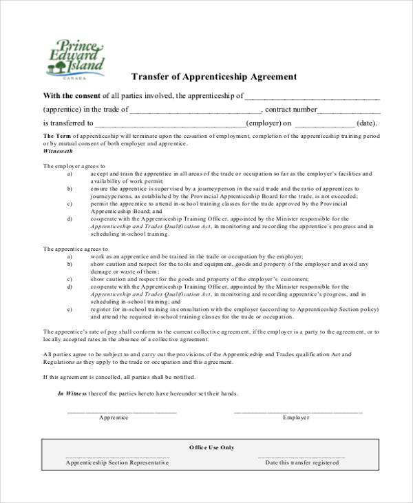 transfer of apprenticeship agreement form