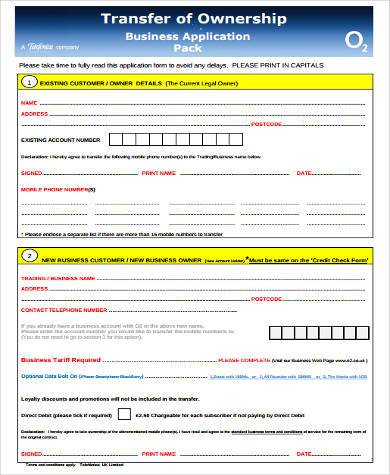 transfer of business ownership form
