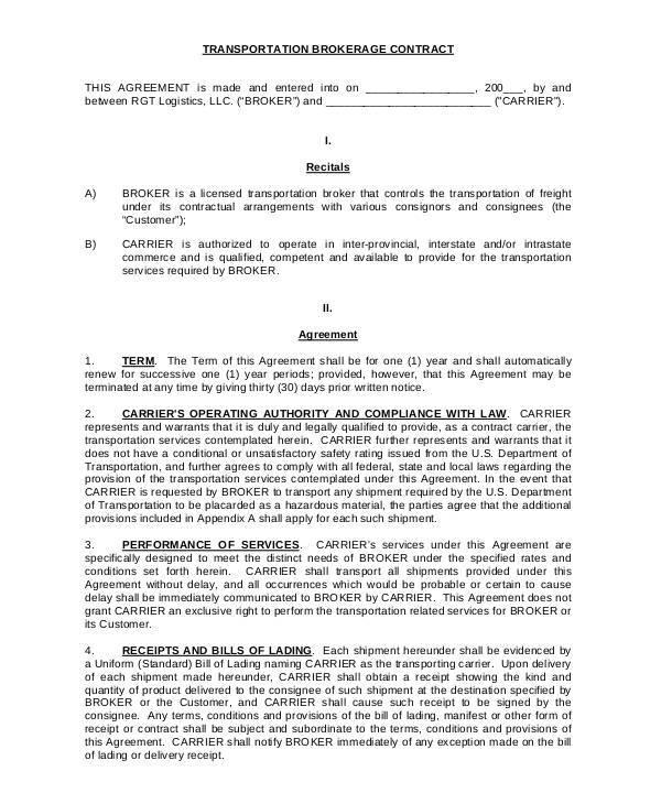 transportation brokerage contract