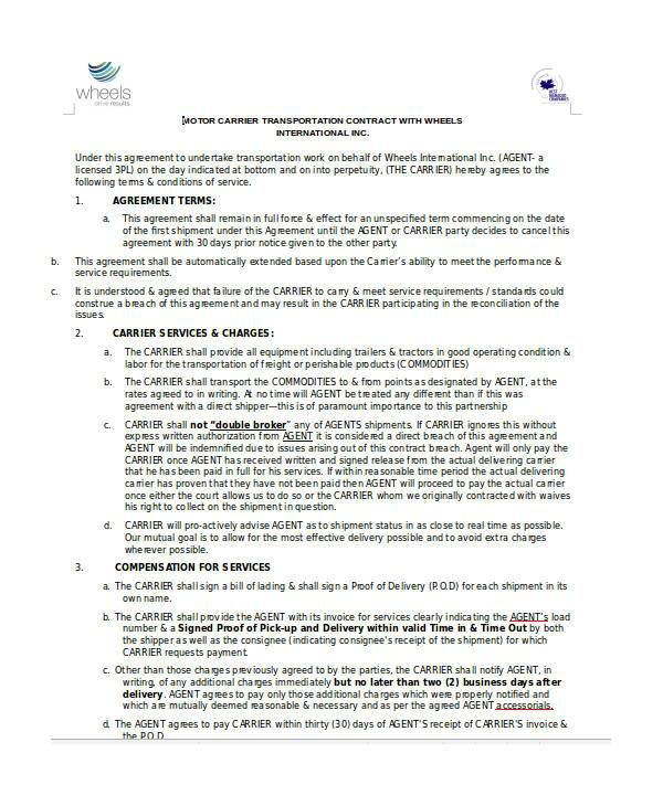 transportation contract form example