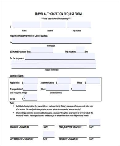 travel authorization request form