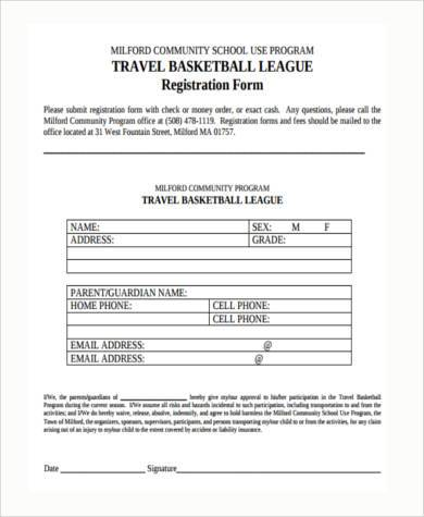 travel basketball registration form