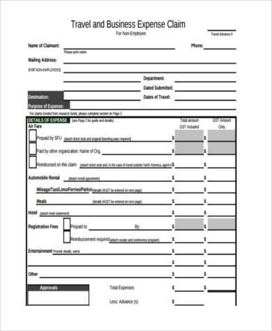 travel business expense claim form