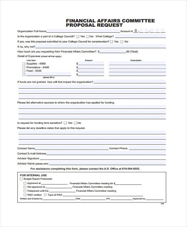 travel companion finance proposal form