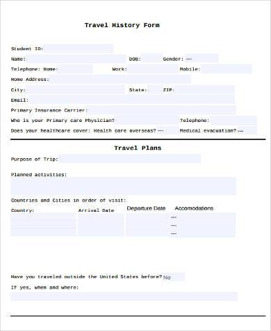 travel history sample form