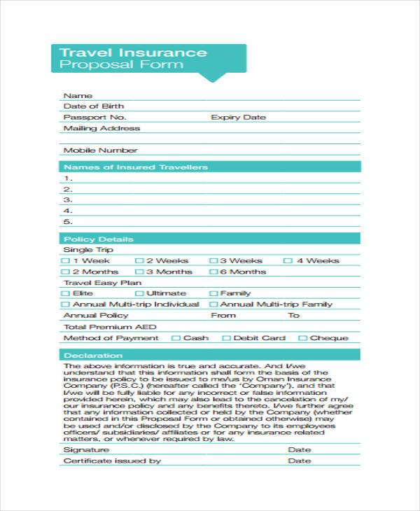 travel insurance proposal form example