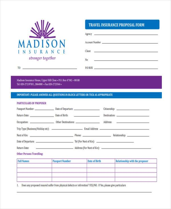 travel insurance proposal form1