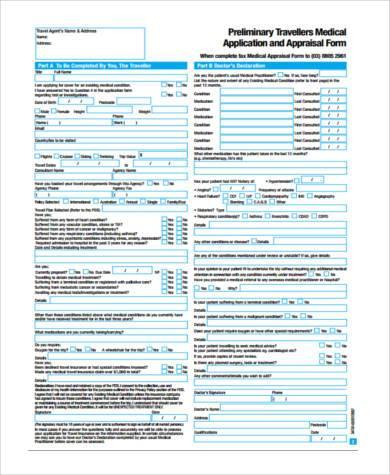 travel medical appraisal form