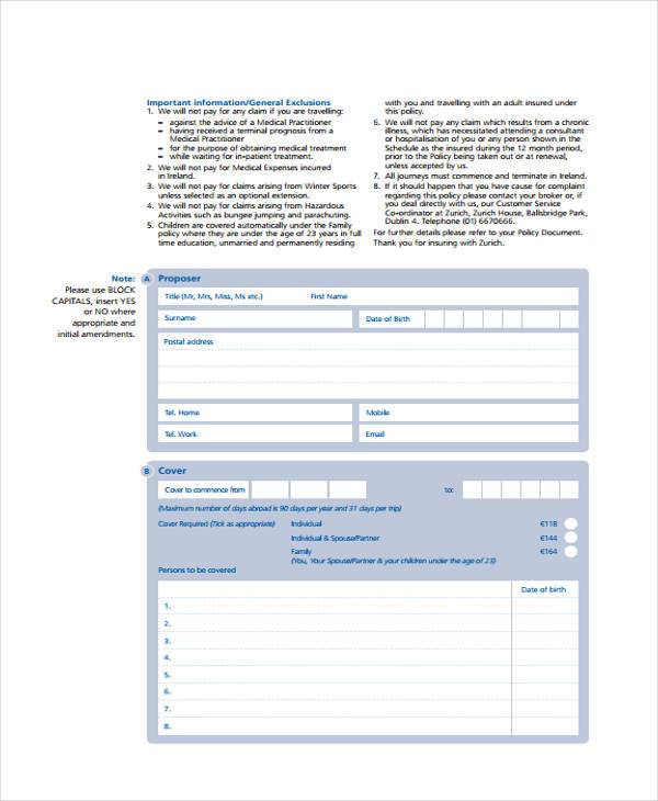 travel proposal insurance form sample