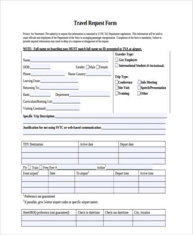 travel request form samples 8 free documents in word pdf