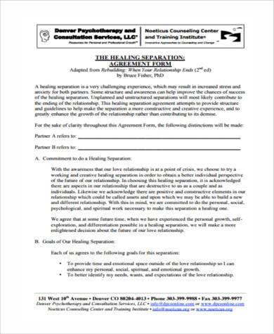 trial separation agreement form