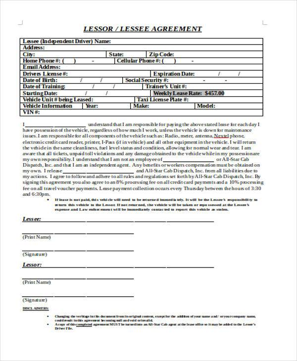 truck driver lease agreement sample