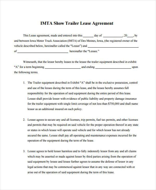 truck lease agreement form pdf
