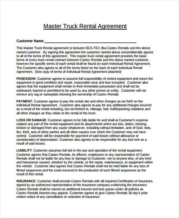 truck rental lease agreement form format