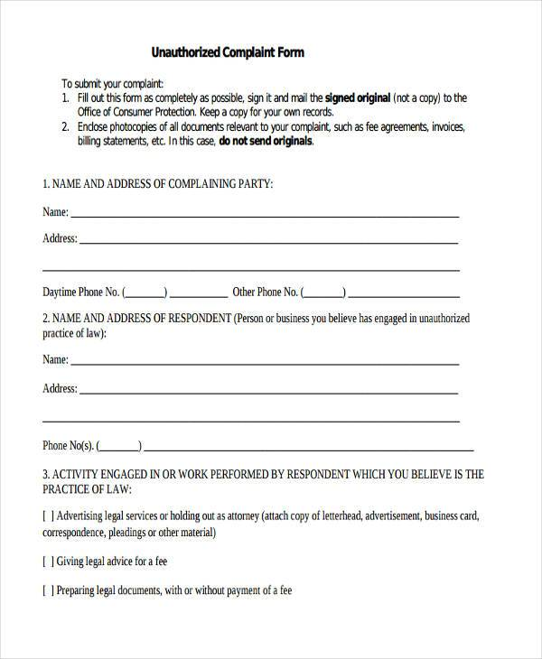 unauthorized product complaint form