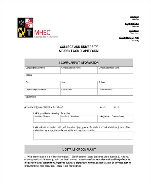 university student complaint form1