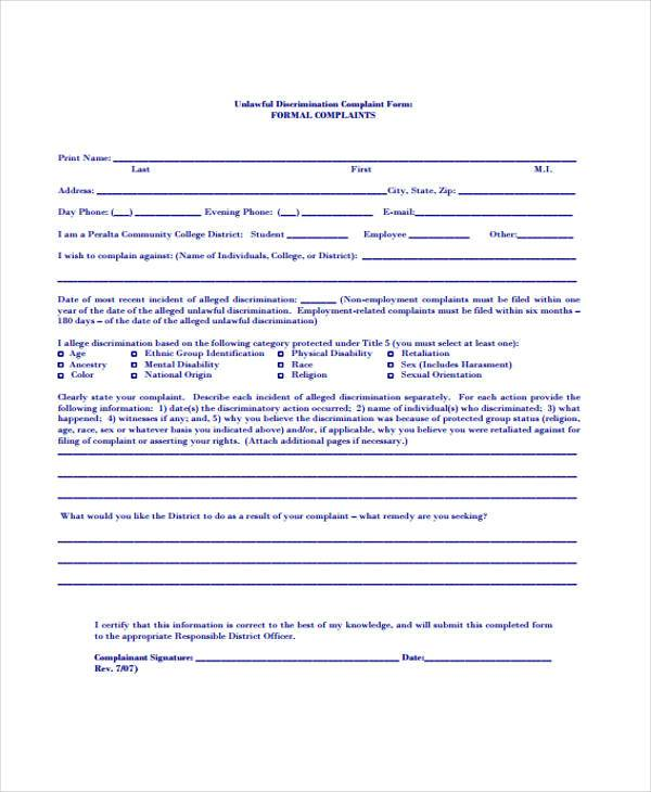 unlawful discrimination complaint form