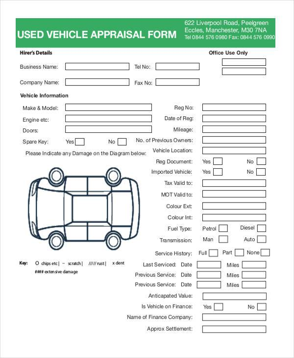 used vehicle appraisal form pdf