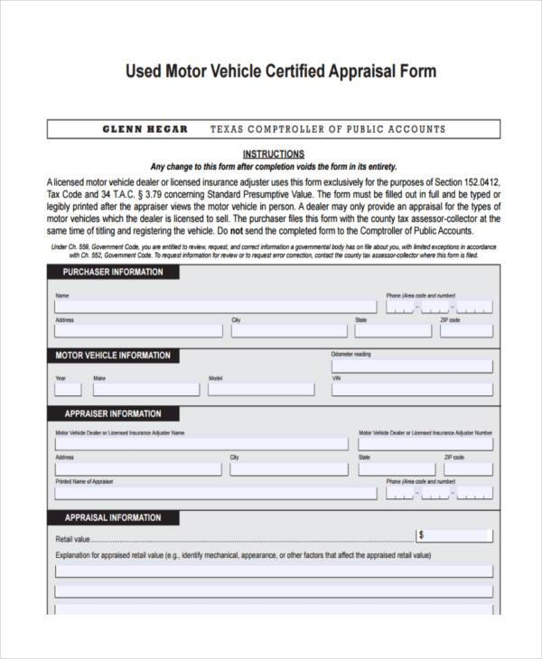 Auto Appraisal Form Samples  Free Sample Example Format Download