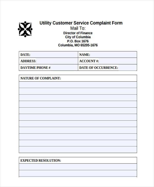 utility customer complaint form
