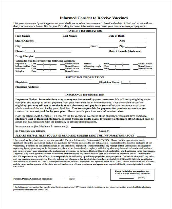 vaccine informed consent form